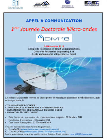 Appel à communication 1ère Journée Doctorale Micro-ondes  JDM'18